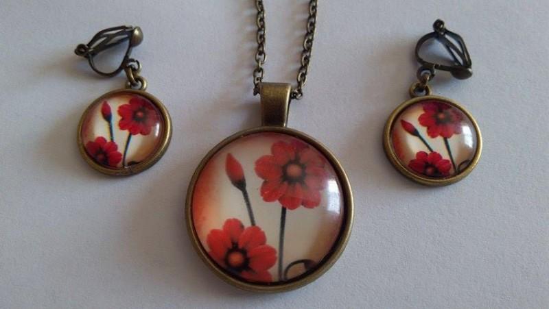 Set din bronz flori cu cercei clipsuri