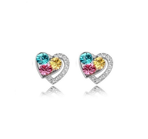 Cercei inimioara cristale colorate placati cu argint