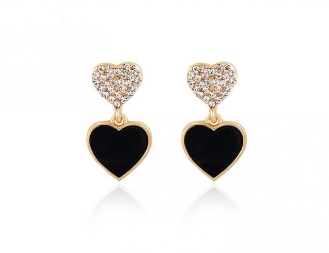 Cercei inima cu cristale placate cu aur 18k