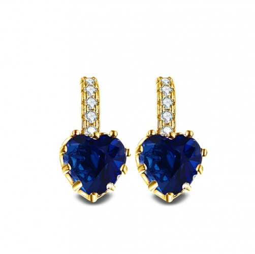 Cercei inimioara albastra zirconiu  placati aur 18k