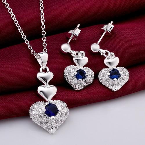 Set inima zirconiu placat argint