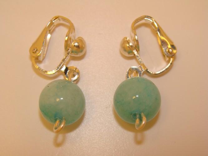 Cercei clipsuri placate argint cu jad