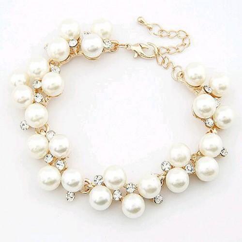 Bratara perle si cristale placata aur 18k