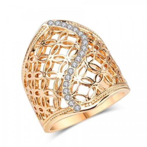 Inel cu cristale placat aur 18k