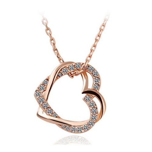 Colier inima dubla cristale placat aur 18k