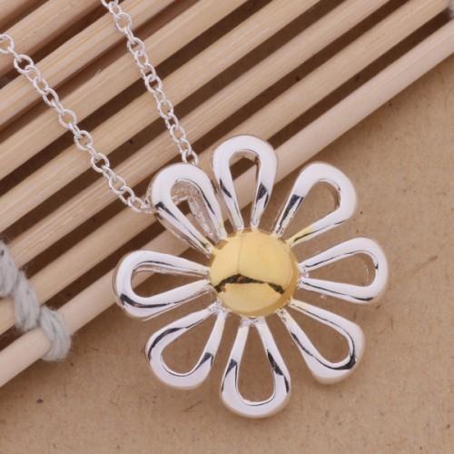 Colier floare placat argint