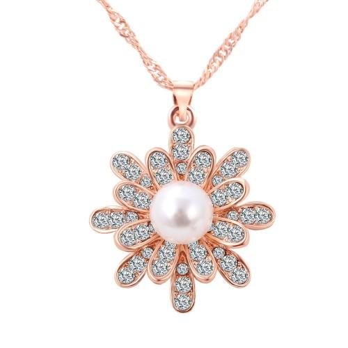 Colier cristale si perle placat aur 18k