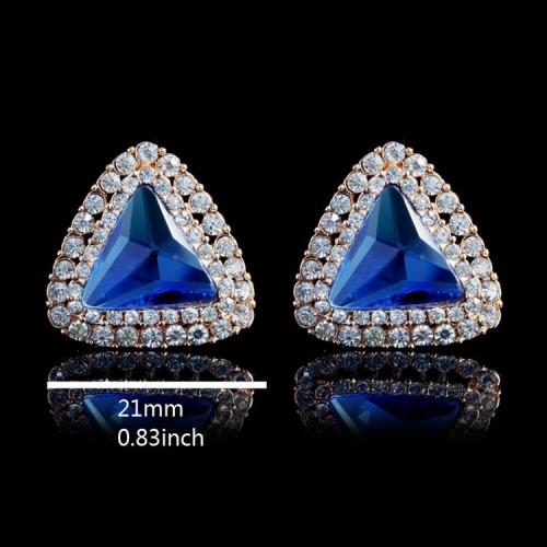 Cercei triunghi placati aur 18k cu cristale