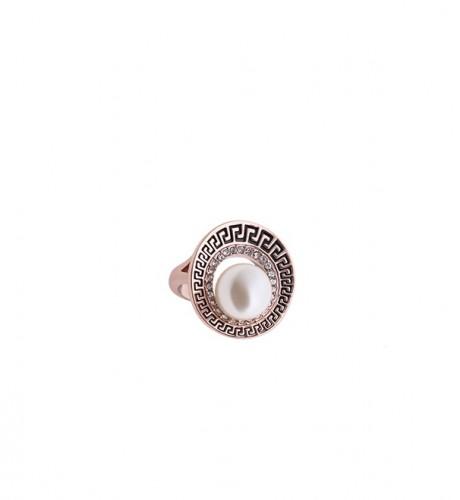 Inel cu cristale si perle placat aur 18k