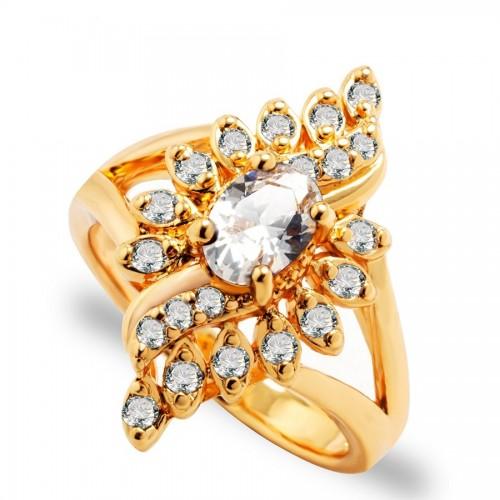 Inel cristale si zirconiu placat aur 18k