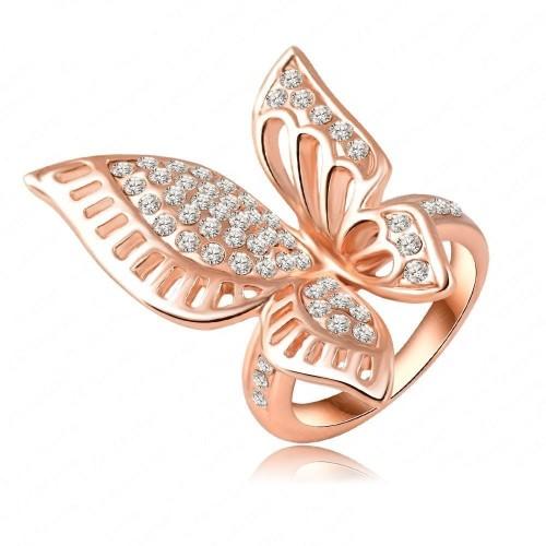 Inel  fluturas cristale placat aur 18k