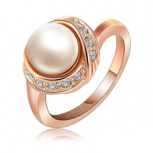 Inel cristale si perla placat cu aur 18k