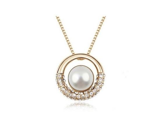 Colier perle si cristale placat aur 18k